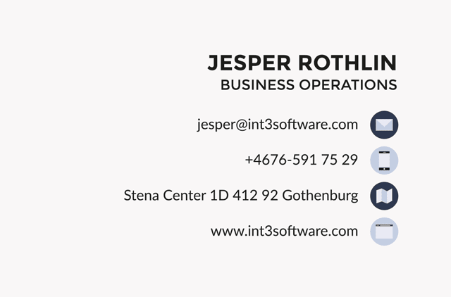 Branding Int3 Software - Information side of business card