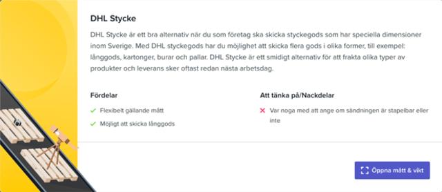Sendify's transportation page - Example DHL Stycke
