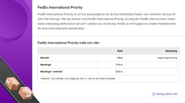 Sendify's transportation page - Example FedEx