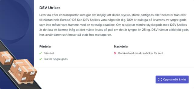 Sendify's transportation page - Example DSV