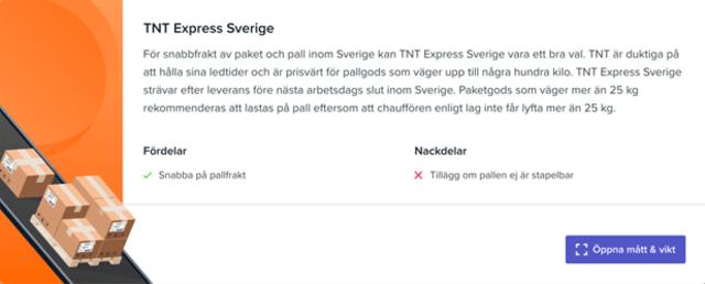 Sendify's transportation page - Example TNT