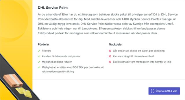 Sendify's transportation page - Example DHL