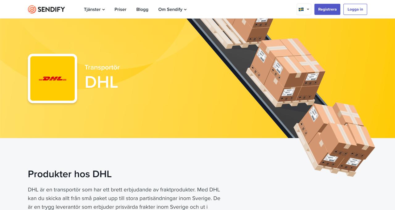 Sendify logistics illustrations usage on Sendify's transportation pages