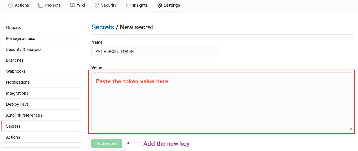 Save Vercel token as secret key