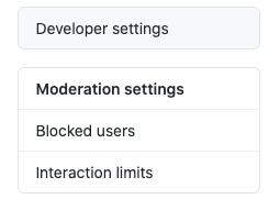 Developer settings in GitHub account