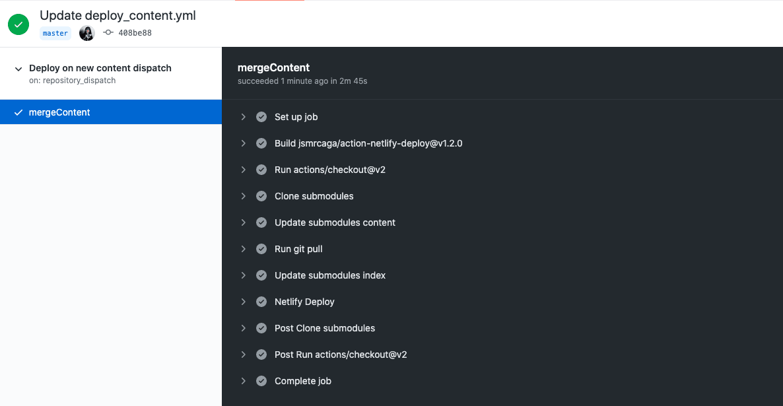 Building main repo on event status