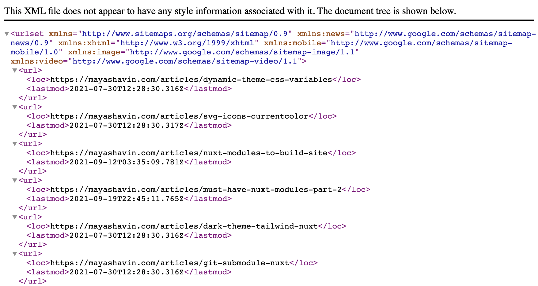 Example of sitemap generated using the module