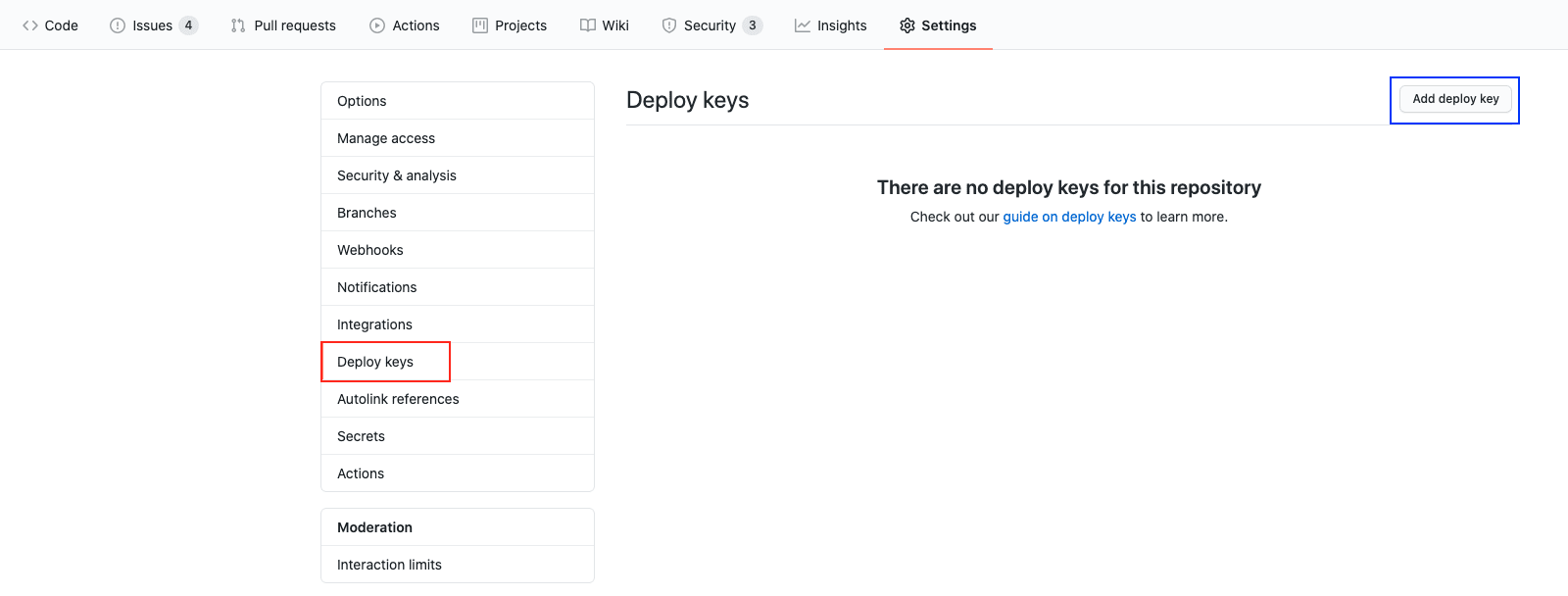 Add deploy key from Netlify to Github