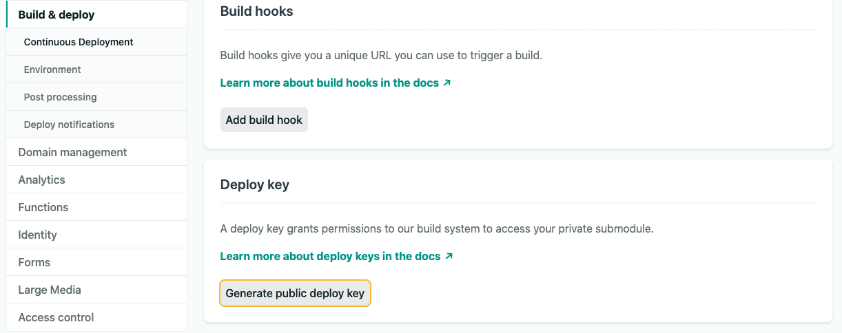 Generate public deploy key on Netlify