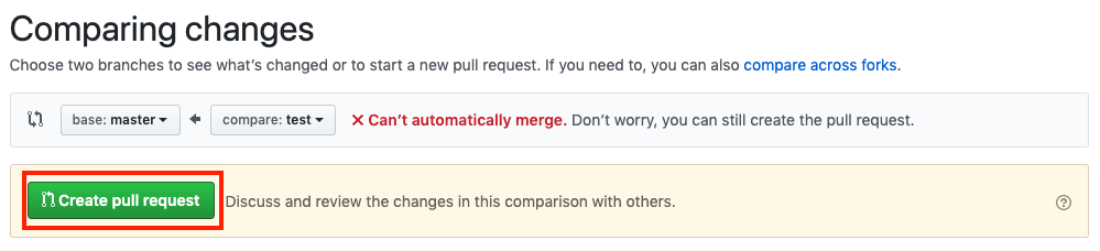 Create pull request after review
