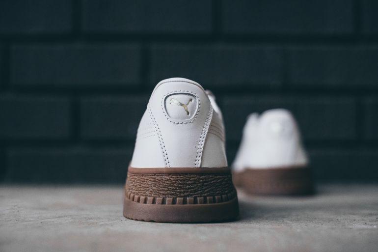 Weiß-braune Puma Sneaker mit Pinroll