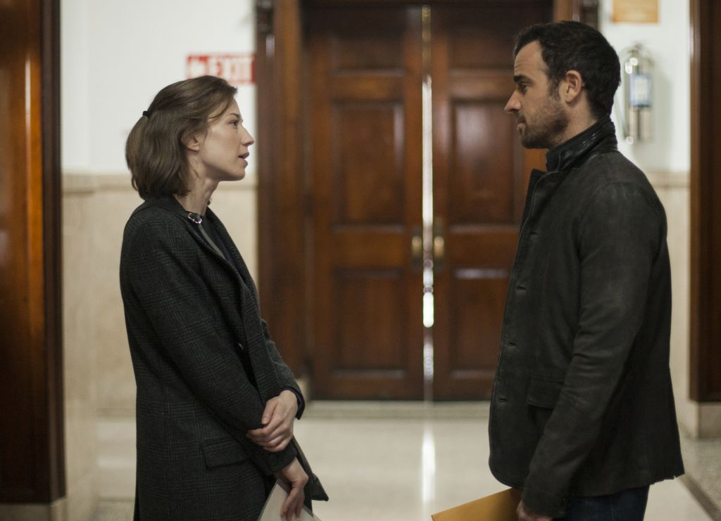 Nora's bumps into Kevin at the courthouse corridor