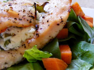 Baked Arugula Lemon Chicken with Goat Cheese