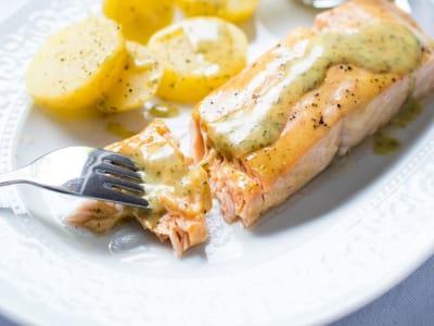 Baked Salmon with a Soy Sauce-Dijon Mustard Glaze