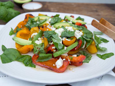 Grilled Peppers with Feta and Basil
