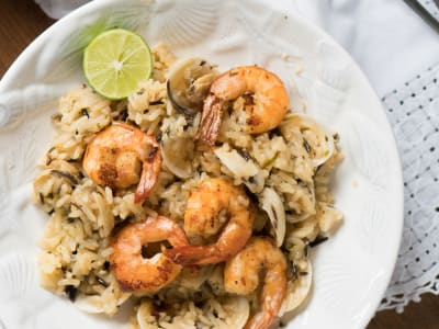 Shrimp and Clams on Wild Rice