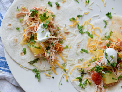 Pressure Cooker Pulled Chicken and Pineapple Tacos