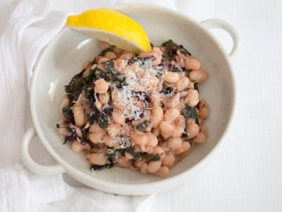 Garlic Greens and Braised White Beans