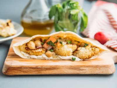 Cauliflower and Garbanzo Bean Pocket-Sandwiches with Tahini Sauce