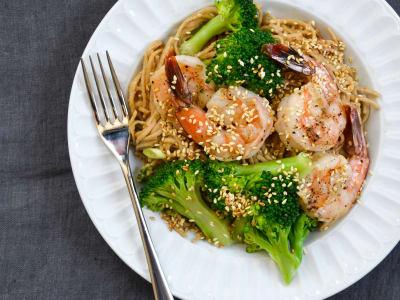 Cold Peanut Soba Noodles with Grilled Shrimp