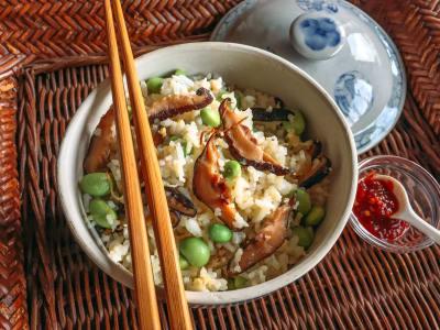 Mushroom and Edamame Fried Rice
