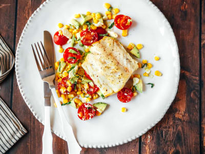 Cod with Avocado, Tomato and Feta Salad