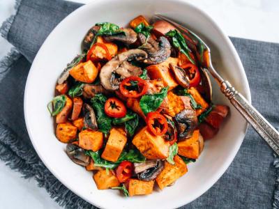 Sweet Potato, Mushroom, and Spinach Salad