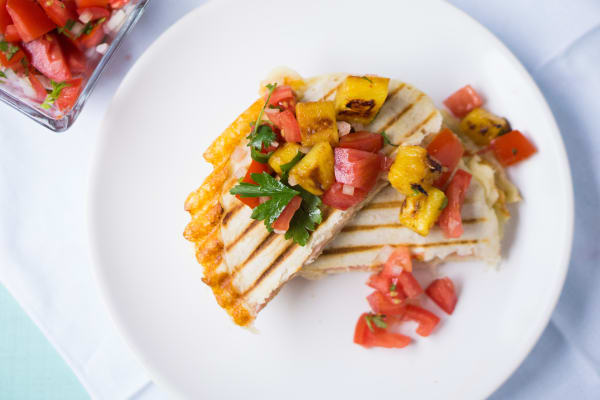 Mexican Sincronizadas with Grilled Pineapple Pico de Gallo