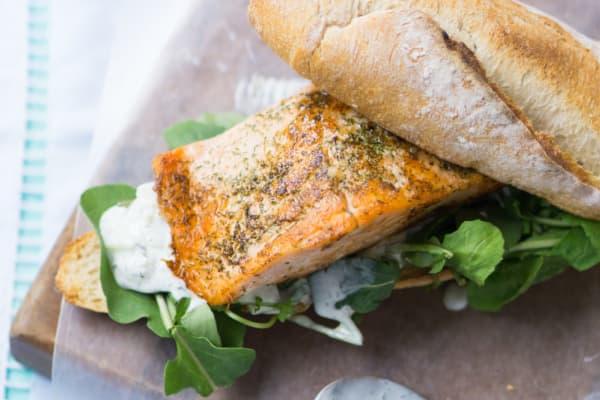 Salmon and Tzatziki Sandwich