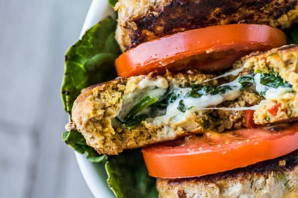 Stuffed Turkey Burger with Gorgonzola and Spinach