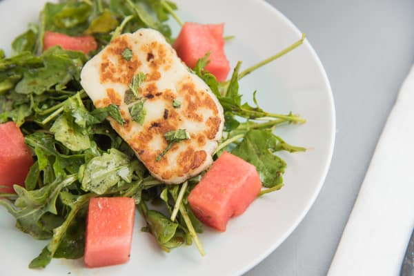 Watermelon and Halloumi Salad with Pomegranate Dressing