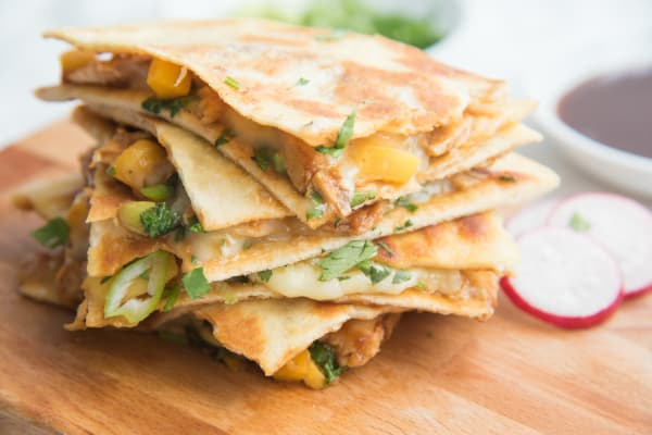 BBQ Chicken Quesadilla with Papaya and Brie