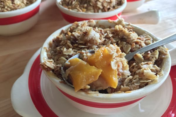 Gluten-Free Banana, Mango, and Coconut Crisp