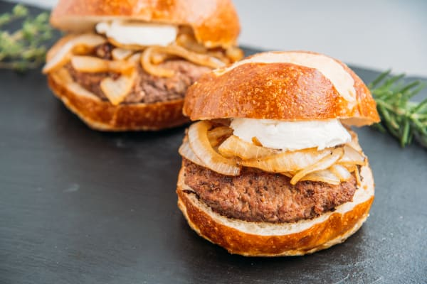 Kobe Beef Burger with Caramelized Onion and Goat Cheese