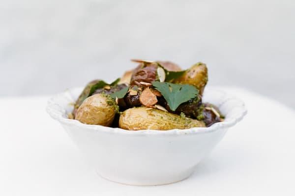 Roasted Potatoes with Almond-Cilantro Pesto
