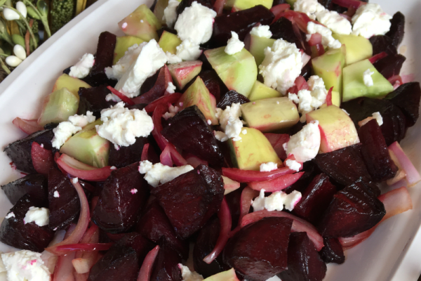 Balsamic Roasted Beet Salad with Cucumbers and Goat Cheese