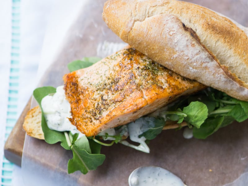 Salmon and Tzatziki Sandwich