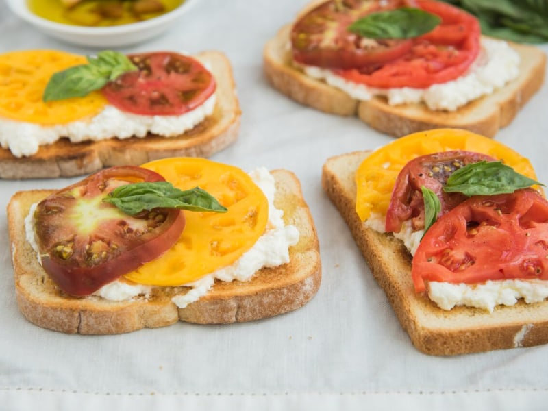 Open-Faced Ricotta and Heirloom Tomato Sandwiches