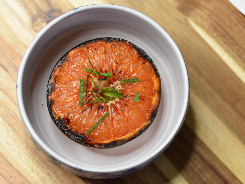 Caramelized Honeyed Grapefruit with Mint
