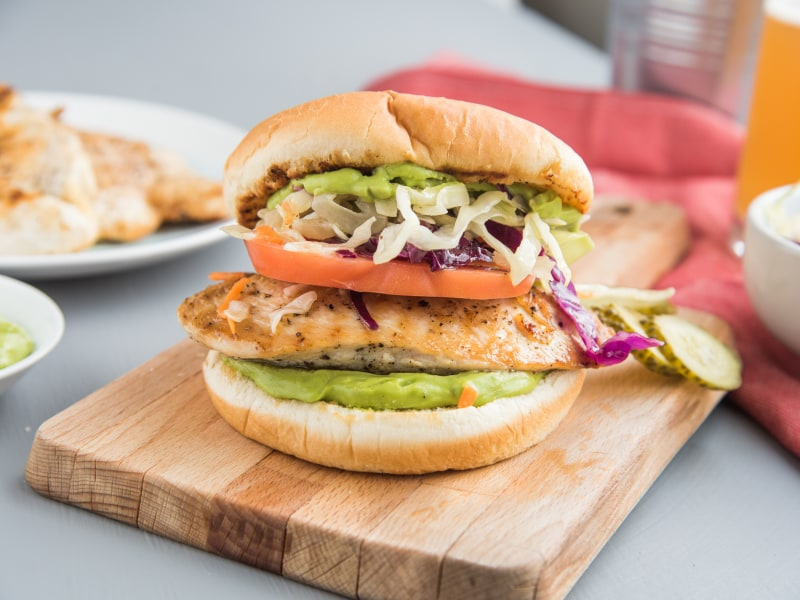 Grilled Chicken Burger with Avocado Aioli