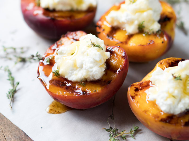 Grilled Peaches with Honey and Ricotta