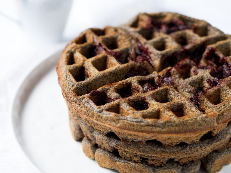 Gluten-Free Strawberry Buckwheat Waffles
