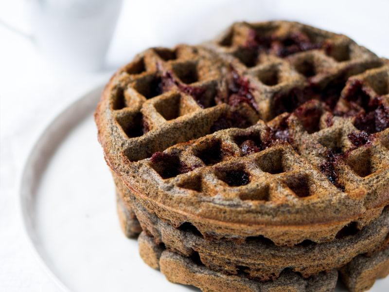Gluten-Free Strawberry Buckwheat Waffles