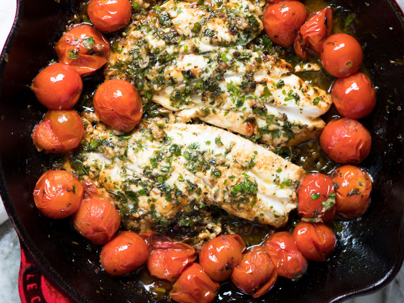Quick Pan-Fried Fish with Cherry Tomatoes