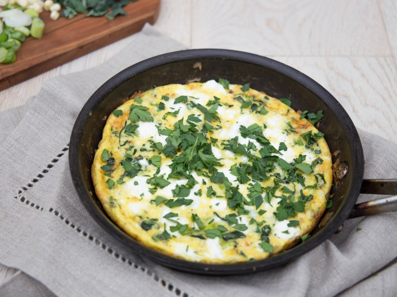 Corn, Goat Cheese, and Onion Frittata