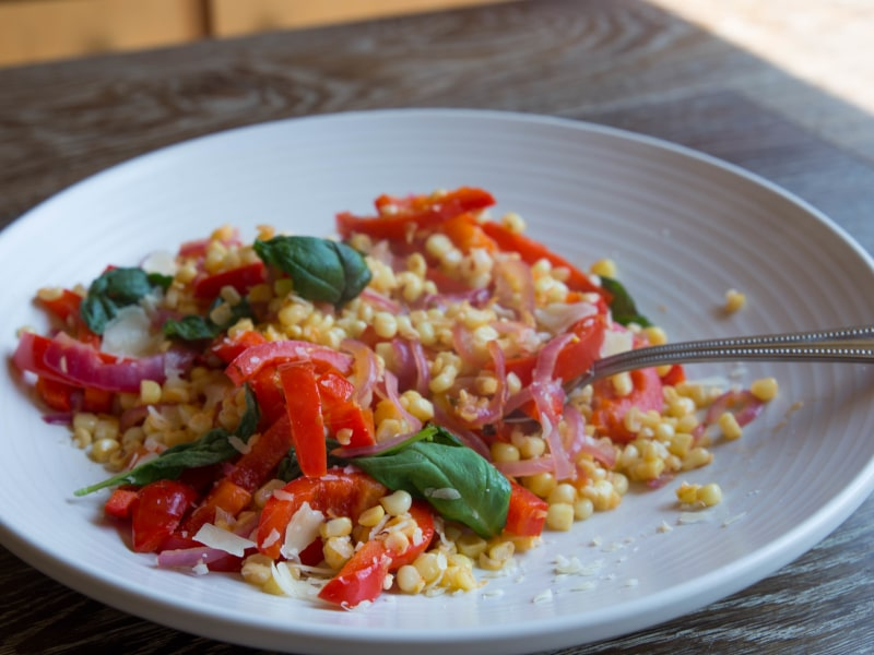 Skillet Corn with Peppers, Basil, and Parmesan