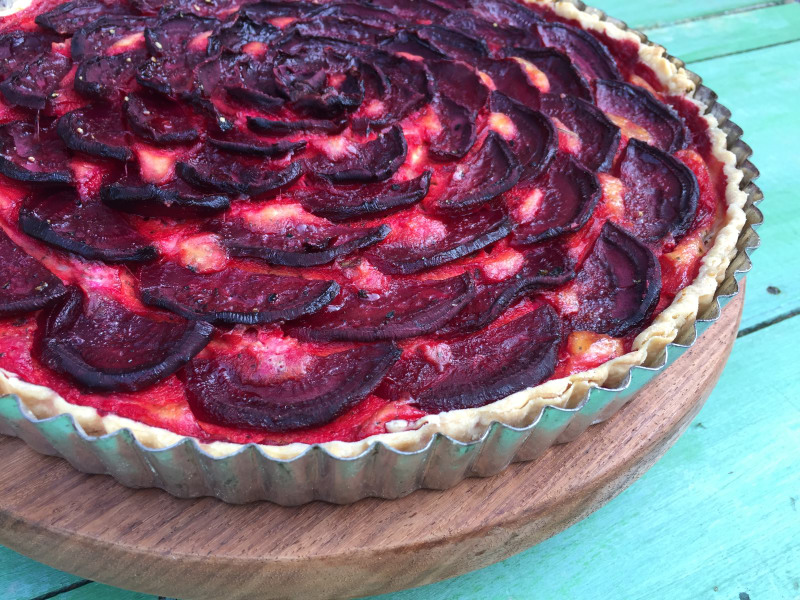 Beet Tart with Ricotta and Goat Cheese