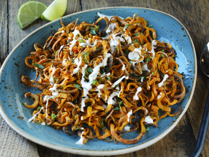 Baked Mexican Sweet Potato Curly Fries