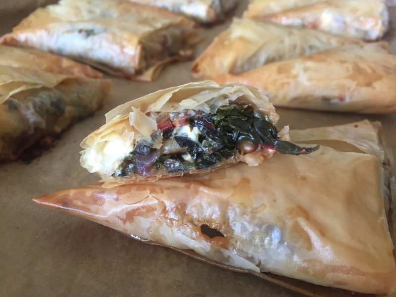 Swiss Chard-and-Feta Phyllo Triangles