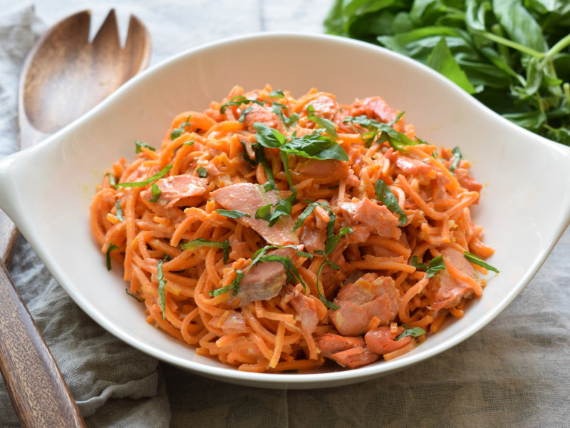 Spiralized Sweet Potato Noodles with Salmon Cream Sauce
